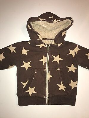 Mini Boden Boys Brown Star Sherpa Lined Hooded Jacket 2-3 Years
