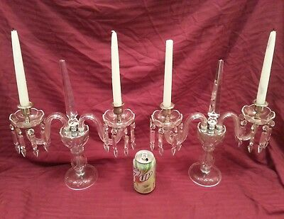 Vintage Pair of Outstanding Table Crystal Prism Candelabras