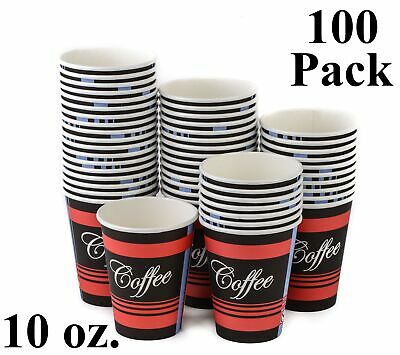 100 Pack 10 Oz. Eco Friendly Poly Paper Disposable Hot Tea Coffee Cups (No Lids)