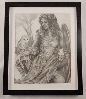 Original Fantasy Art Warrior Woman Owl D&D MERP AD&D Rolemaster