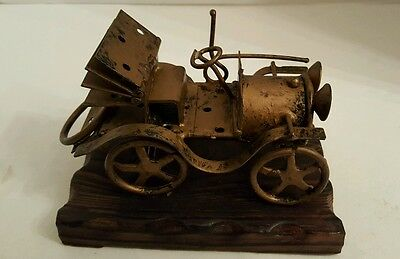 Vintage Antique Handmade Folk Art Welded Metal Car-Made in Spain