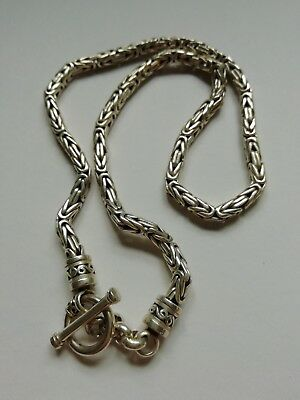 Solid Sterling Silver hallmarked 925 Necklace heavy intricate Bali design.