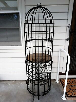 Tall Wrought Iron Wine Spirit 18 Bottle Holder Rack Cage With Round Glass Top