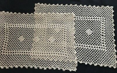 """Two Crochet Placemats Exceptional Pattern Reminding Bobbin Lace 18"""" x 12 1/2"""""""