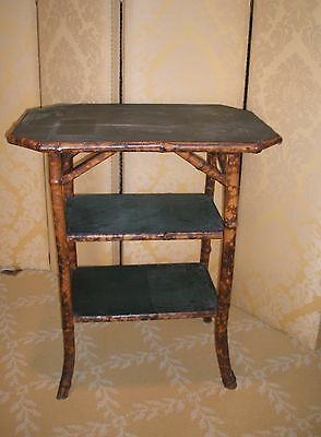 """Antique English Victorian Bamboo End Side Table - 25"""" Wide x 17"""" Deep x 29"""" Tall"""