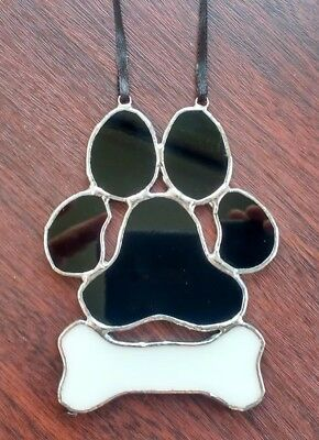 Stained Glass Dog Paw Print Wall Hanging Decoration Pet Memory  Tiffany Style