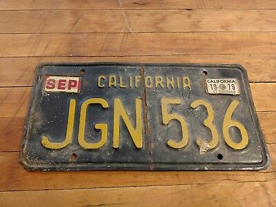 1963 CALIFORNIA LICENSE PLATE yellow on black EXPIRED