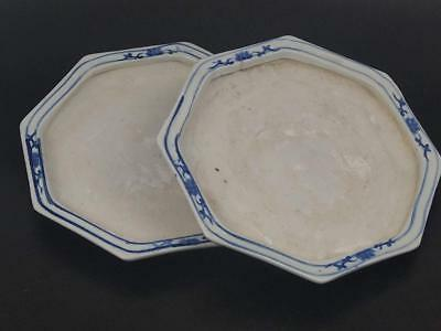 Pair of Chinese Hexagonal under plate stand early 18th century lotus pattern