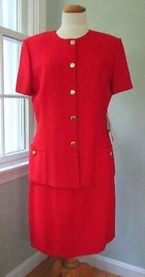 St. John Collection Marie Gray NWT Red Santana Knit 2-Piece Skirt Suit Women 12