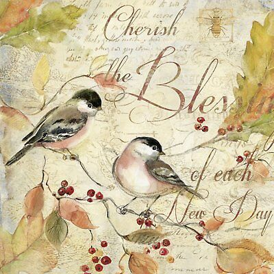 CHERISH THE BLESSINGS Birds paper 33 cm square 3 ply napkins 20 pack