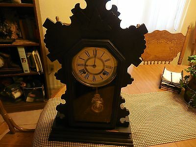 Antique Ansonia Clock Co. USA New York Gingerbread Clock 1890's