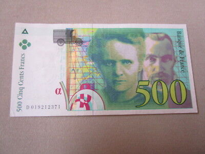 Original 500 Francs Banknote Frankreich Marie & Pierre Curie 1994, Zustand 2, XF