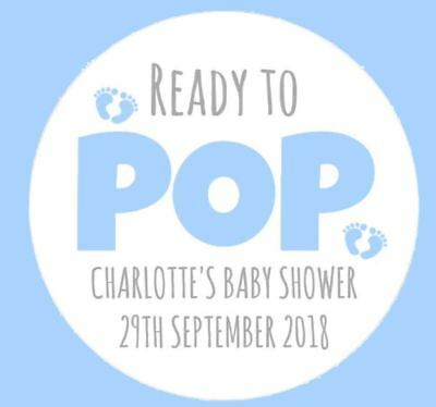 Personalised Blue Boys Round Baby Shower Ready To Pop Stickers Labels Games Seal