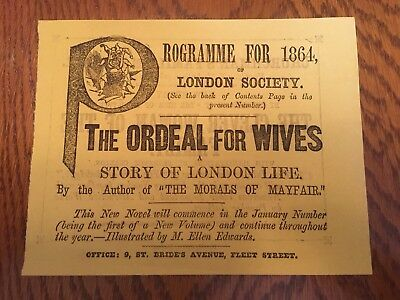Victorian Paper Cut Out Scrap Book Ad Programme Advert 1864 The Ordeal For Wives