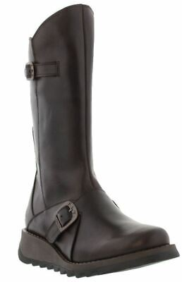 Fly london Mes 2 Dark Brown Leather Womens Mid Calf Boots