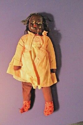 "old antique 11 1/2"" painted features doll Black Americana"