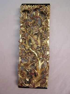 ANTIQUE 19c CHINESE GOLD DEEP RELIEF Gilt WOOD CARVED  PANEL FLOWERS   BIRDS