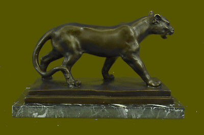 Bronze Sculpture Jaguar Cougar Mountain Lion Hand Made Wildlife Animal Statue
