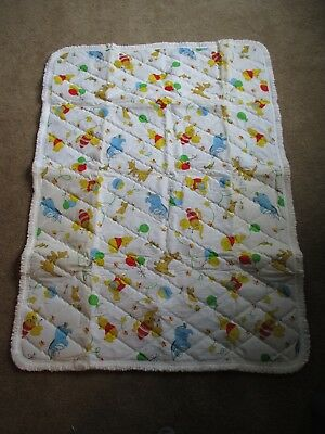 """Vintage 1970's Sears Winnie The Pooh and Friends Baby Quilt Blanket 36""""x 54"""""""