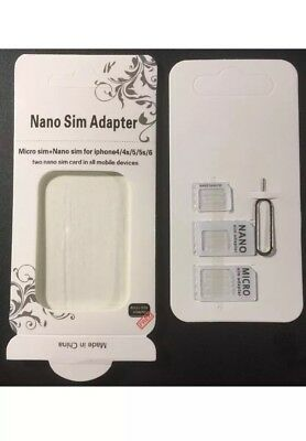 1x Nano SIM Card to Micro Standard Adapter Converter Set For iPhone Samsung Sony