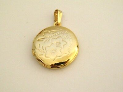 """Goldtone Round Locket Pendant 1 """" Floral Etchings High Fashion Estate Jewelry"""