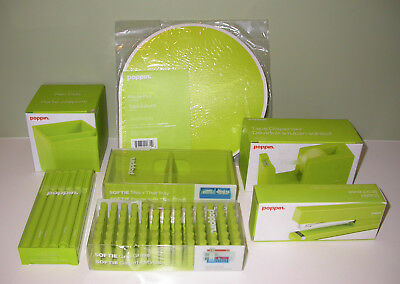 NEW Poppin Desk Accessories Set of 7 Items in Lime Green