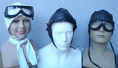 Aviator Helmet Goggles Kit Amelia Earhart Red Baron Wright Report Costume ac10