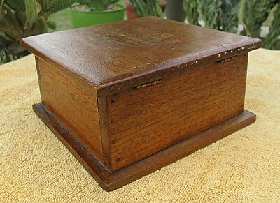 Handmade Old Arts Crafts Mission Style Black Walnut Small Antique Box Coins