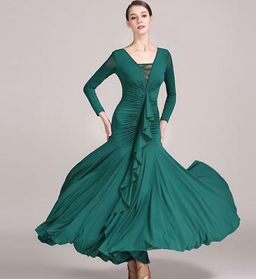 Women Sexy Solid Color Long-sleeved Ballroom Party Modern Latin Dancing Dress