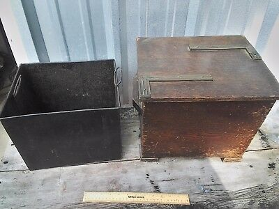 RARE VINTAGE ANTIQUE WOODEN wood w/ metal insert Folk Art Safe Keepsake Box cold