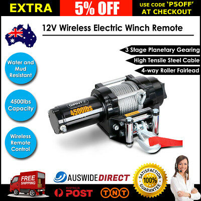 4500LBS 12V Wireless Electric Winch Remote Control Steel Cable 4WD ATV Truck