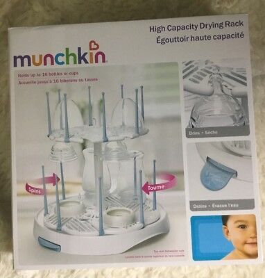 Munchkin High Capacity Baby Bottle Drying Rack, White, Foldable Pegs  - 2255