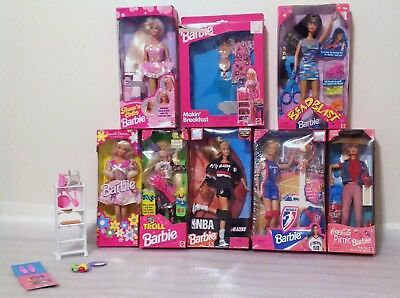 Lot of 7 Barbies ALL in Original Box + Play Set all  from 1990's +++