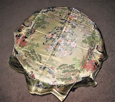 """38"""" Gorgeous Chinese 100% Silk Brocade Embroidery Tablecloth w/ Tassels - Gold"""