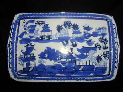 """Antique 10-3/4"""" Blue Willow Serving Platter Hand Painted, Hand signed Circa 1840"""