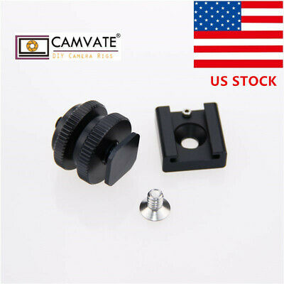 """US1/4"""" Hot Cold Shoe Mount +1/4""""-20 Tripod Screw to Flash Hot Shoe Mount Adapter"""