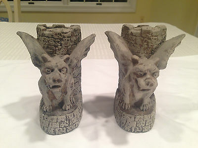 Vintage Pair of Heavy Stone WINGED GARGOYLE BOOKENDS Dragons Medieval Castle