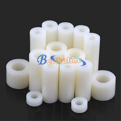100x M3 M4 M5 M6 Plastic Nylon Non Threaded Standoff Spacer Washer Screw White