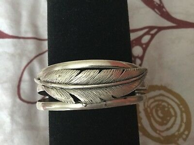 Rare Ancient Egyptian Stamped 100%Sterling Silver Pharaonic Feather Bracelet!WOW