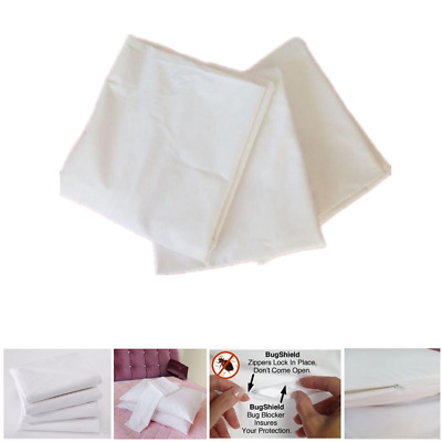 4 Waterproof Pillow Protector Case Cushion Slip Zip Closure 50x70cm Anti-Allergy