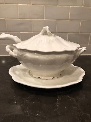 Antique  Royal Semi- Porcelian Johnson Bros., Gravy Boat With Ladle  Numbered
