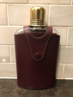 Vintage Flask  Heavy Decorated  Glass  In Leather Case