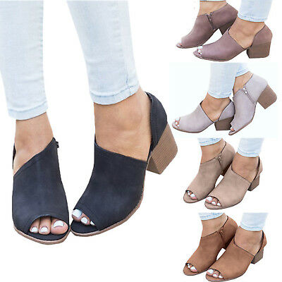 Womens Block Heel Peep Toe Boots Chunky Mule Ankle Booties Sandals Casual Shoes