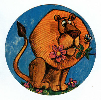 Vintage Folgers Coffee Can Lid Animal Cardboard Insert Lion Flowers - Jungle Zoo