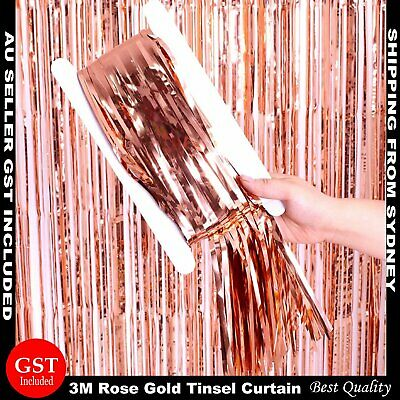 3M Rose Gold Metallic Tinsel Curtain Foil Backdrop Party Wedding Birthday Decor