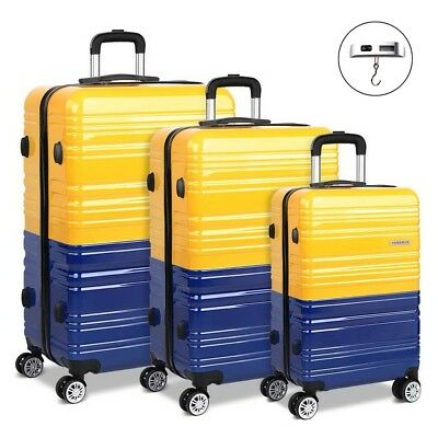 Wanderlite 3 Piece Lightweight Hard Suit Case Luggage Yellow & Purple Warranty