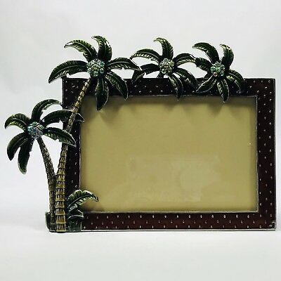 Photo Picture Frame 4 x 6 Enamel On Metal Tropical Palm Trees Green Crystals