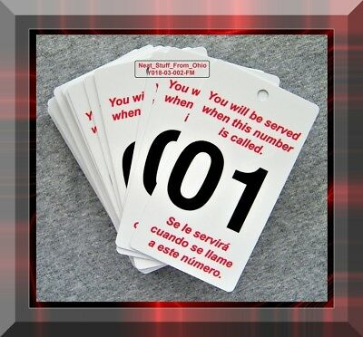 """""""TAKE A NUMBER"""" - 50 HIGH QUALITY PLASTIC CARDS, PRINTED BOTH SIDES, No. 01-50"""