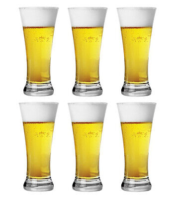 NEW 6x Clear Bira Beer Glass Drinking Schooner Drink 380ml Made in Turkey Boxed