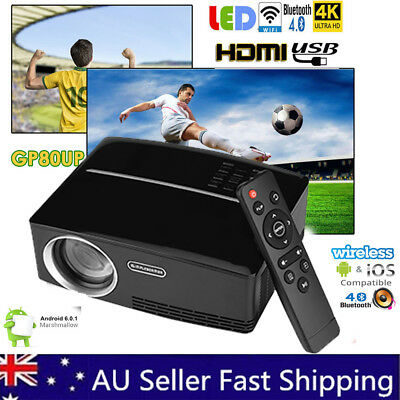 Smart HD Android WiFi Video Projector Movie LED Bluetooth Home Cinema 1080p HDMI